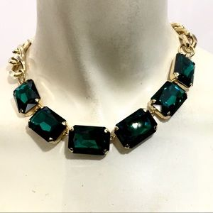 Large Emerald Rhinestone Chunky Necklace on Chain